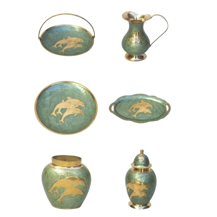 Painted Brass Gift Set Cyan Dolphins