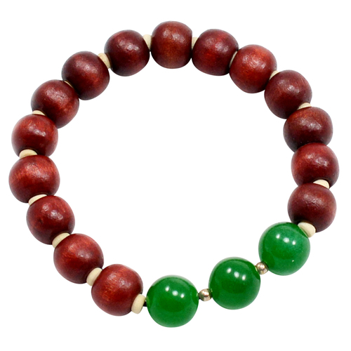 925 Sterling Silver, Handmade Jewelry Manufacturer Round Green Onyx With Wood Beads, Jaipur Rajasthan India Yoga Bracelet