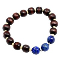 Beautiful Beaded Lapis Lazuli And Handmade Manufacturer Wood Stretch Bracelet, 925 Silver Bracelet Jaipur Rajasthan India