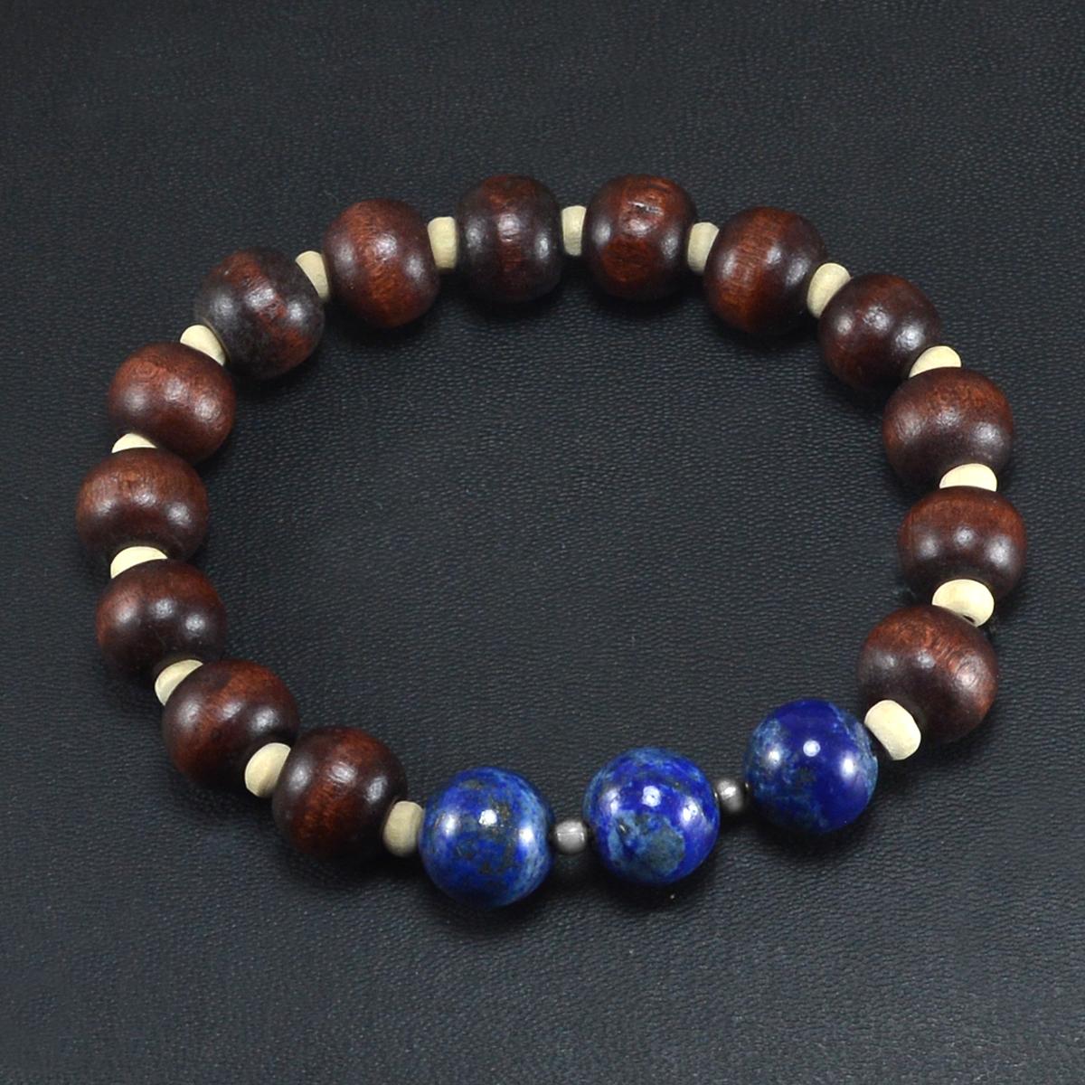 Beautiful Beaded Lapis Lazuli And Handmade Manufacturer Wood Stretch Bracelet, 925 Silver Bracelet Jaipur Rajasthan India