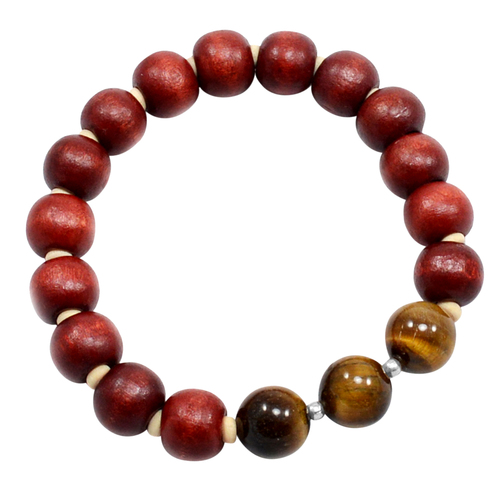 Round Tiger Eye Boho Wood Beads 925 Sterling Silver 10mm Beads Stretchable Jaipur Rajasthan India Diffuser Bracelet
