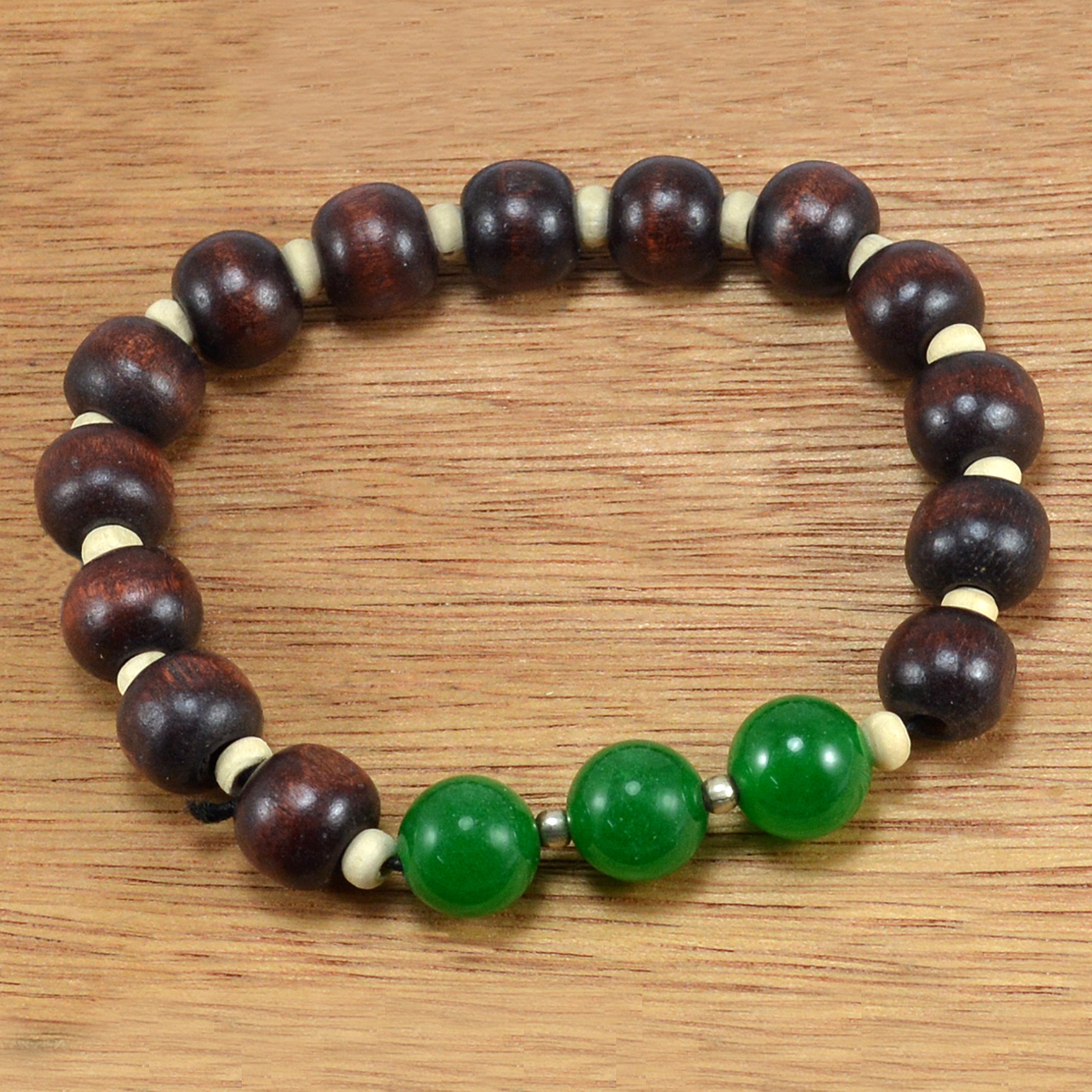 Beaded Green Onyx With Handmade Jewelry Manufacturer Wood Beads 925 Sterling Silver Stretchable Bracelet Jaipur Rajasthan India