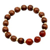 Wood Beads With Handmade Manufacturer Red Brecciated Jasper, 925 Silver, Jaipur Rajasthan India Stretchable Diffuser Bracelet