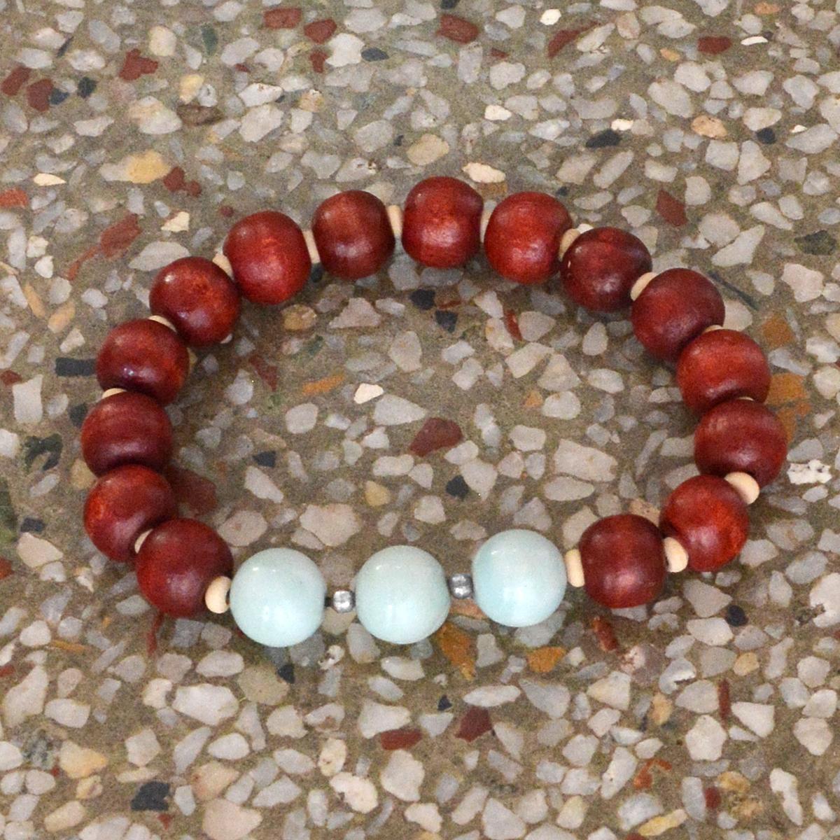 Handmade Manufacturer Essential Oil Diffuser Yoga-Meditation Bracelet, Jaipur Rajasthan India Sterling Silver, Amazonite Beads