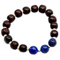 10mm-Blue Lapis Lazuli Handmade Manufacturer Beaded Stretch Bracelet With Wood Beads, 925 Sterling Silver Jaipur Rajasthan India
