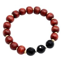 10mm- Wood Beads, Handmade Jewelry Manufacturer Black Onyx Stretchable Bracelet With Jaipur Rajasthan India 925 Sterling Silver