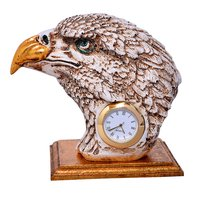 Home Decorative Resin Eagle Face Watch Handmade Statue