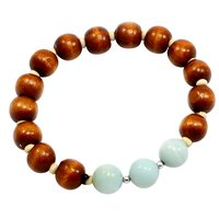 Amazonite & Wood Beads Handmade Jewelry Manufacturer Bracelet-925 Sterling Silver Bracelet-Delicate Jaipur Rajasthan India