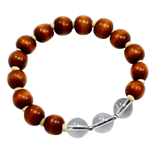 Handmade Manufacturer Beaded Wood Beads With Crystal Quartz, 925 Silver Small Balls, Jaipur Rajasthan India Stretchable Bracelet