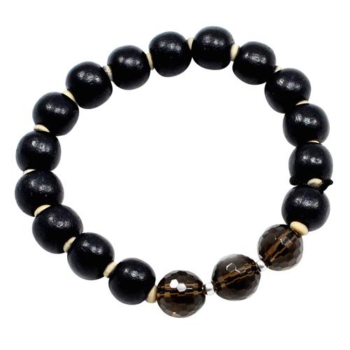 Black Wood Beads & Smoky Quartz-Handmade Jewelry Manufacturer Sterling Silver-Stretchable Bead Bracelet Jaipur Rajasthan India