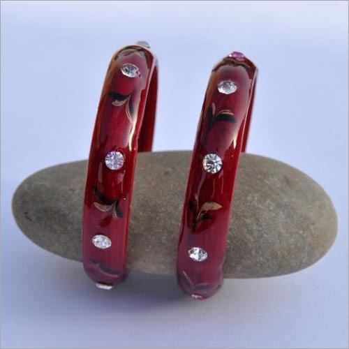 Red Daily Wear Stone Bangle