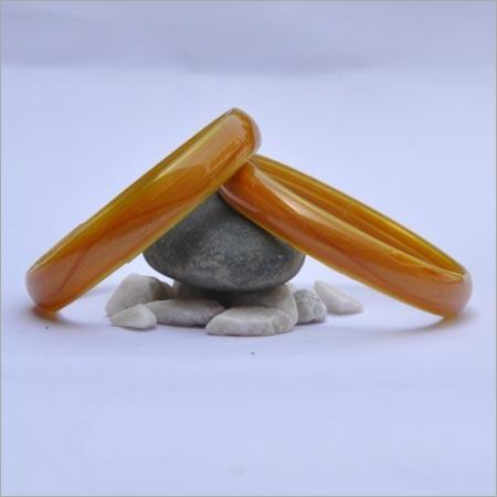 Yellow Plain Glass Bangle