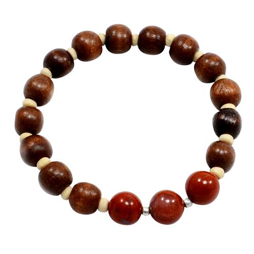 Spring Sale - Red Jasper-Wood Beads Handmade Jewelry Manufacturer Round Beads, 925 Silver- Stretchable Reiki Bracelet