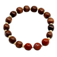 Spring Sale - Red Jasper-Wood Beads Handmade Jewelry Manufacturer Round Beads, 925 Silver- Stretchable Reiki Bracelet