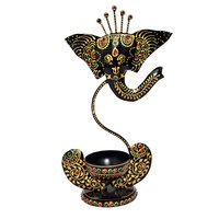 Home Decor Iron Painted Ganesha Tea Light Stand Holder