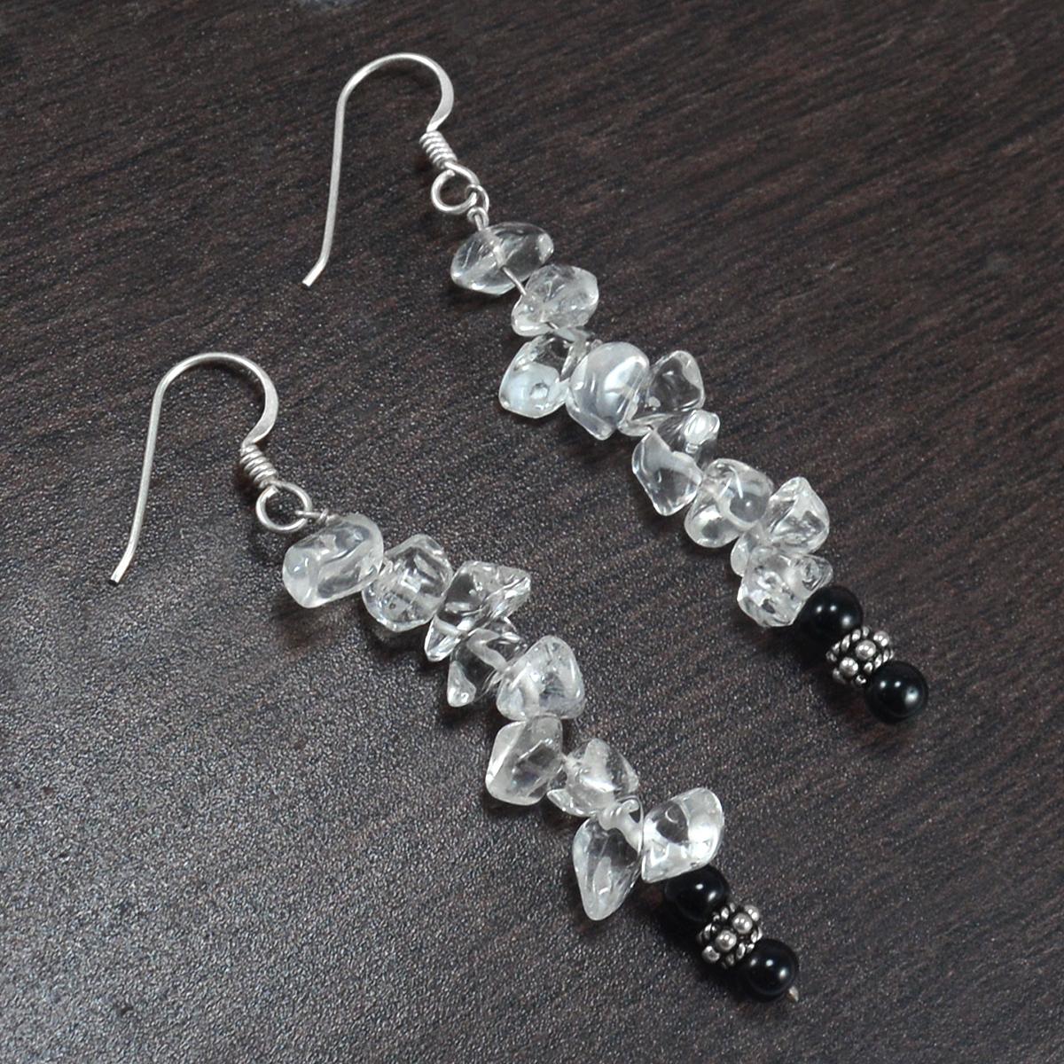 4mm Black Onyx & Handmade Jewelry Manufacturer Crystal Quartz 925 Sterling Silver Dangle Earring Jaipur Rajasthan India