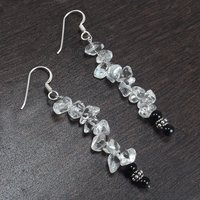 4mm Black Onyx & Handmade Jewelry Manufacturer Crystal Quartz 925 Sterling Silver Dangle Earring Jaipur Rajasthan India