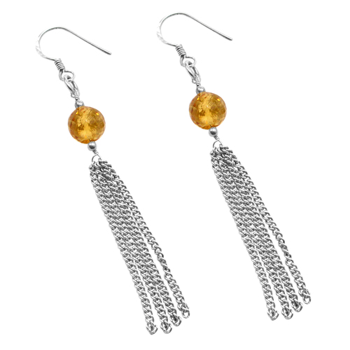 10mm Round Beaded Handmade Jewelry Manufacturer Yellow Citrine- 925 Silver- Long Chain Jaipur Rajasthan India Dangle Earring