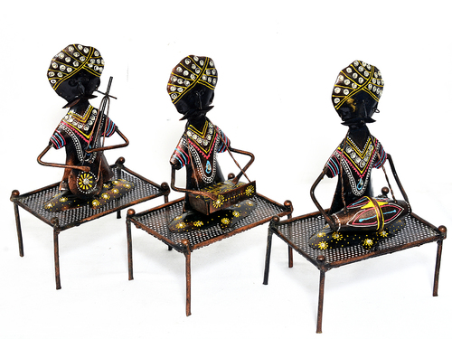 Home Decor Iron Painted Mooch Musician Set Of 3