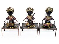 Home Decor Iron Painted Mooch Musician Set Of 3