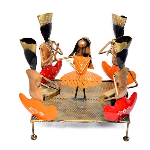 Iron Painted Village Dance Lady & Musician Team