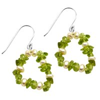 August Peridot & June Birthstone Pearl, Handmade Jewelry Manufacturer Sterling Silver, Cluster Earring Jaipur Rajasthan India