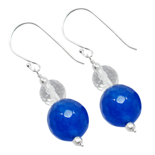 Wire-wrapped, 925 Sterling Silver, Handmade Jewelry Manufacturer Round Bead Blue & Crystal Quartz Earring Jaipur Rajasthan India