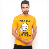 Mustard Cotton Printed Graphic T-Shirts
