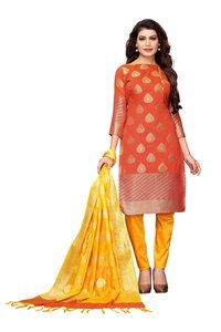 Casual Wear Banarasi Suit Dress Material