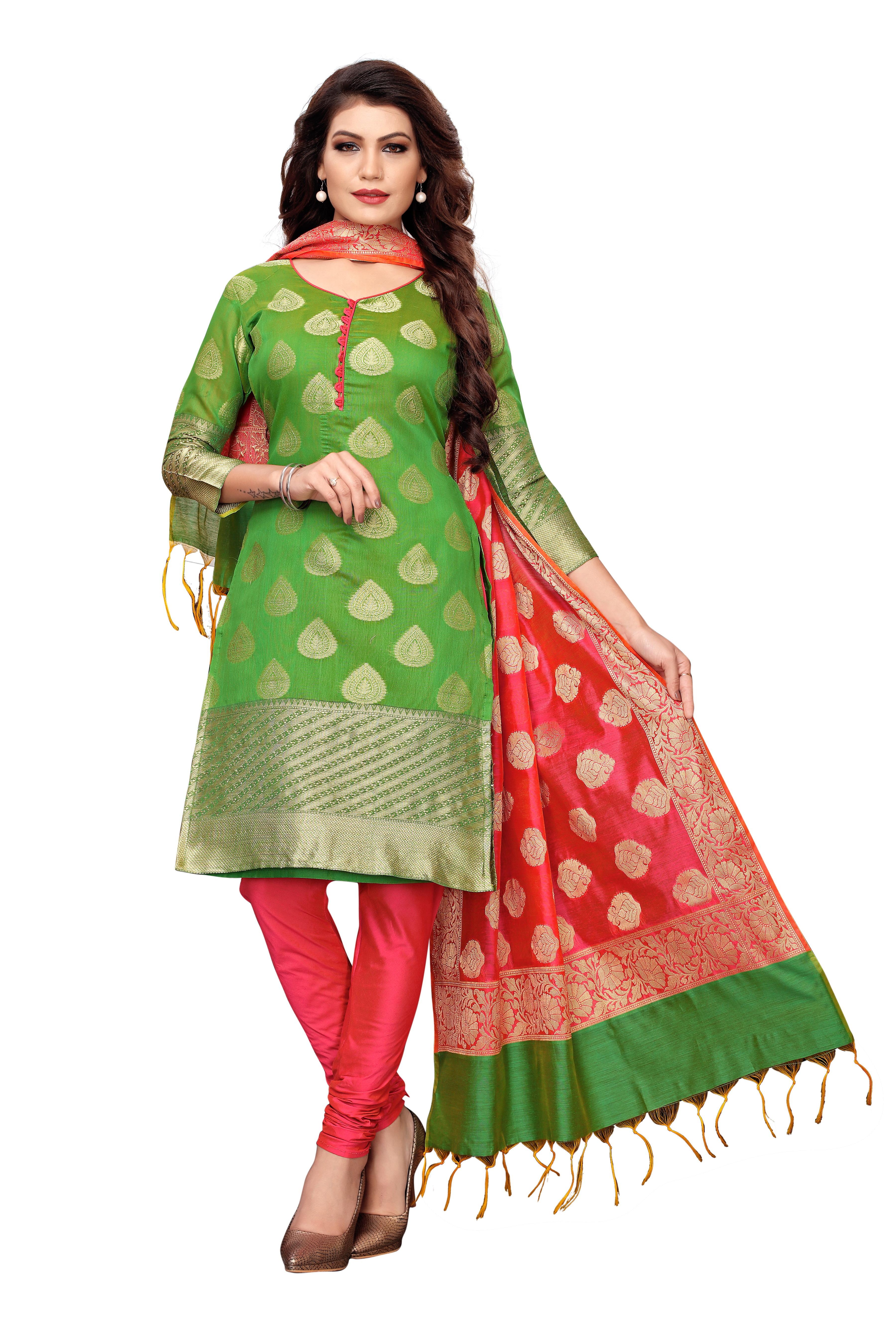 Casual Wear Banarasi Suit Dress Material