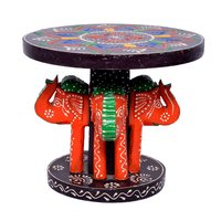 Home Decorative 4 Elephant Design Wooden Baby Kids Stool