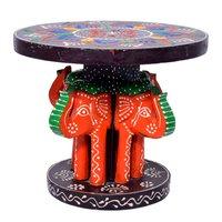 Home Decorative 4 Elephant Design Wooden Baby Kids Stool