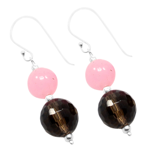 Handmade Jewelry Manufacturer Pink Rose, Brown Smoky Quartz, 925 Silver Round Ball Beads & Silver Jaipur Rajasthan India Earring