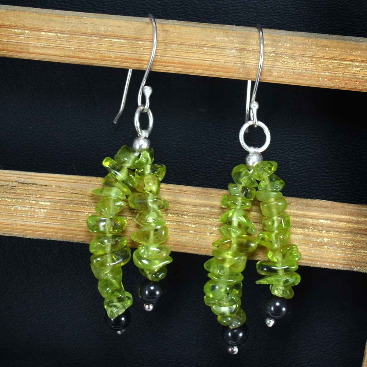 Round Bead Black Onyx, Handmade Jewelry Manufacturer Chips Peridot, 925 Sterling Silver Jaipur Rajasthan India 2-Layer Earring