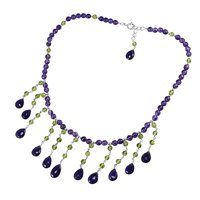 Amethyst & Round Beads Handmade Jewelry Manufacturer Peridot, 925 Silver, Spring-ring hook Jaipur Rajasthan India Necklace