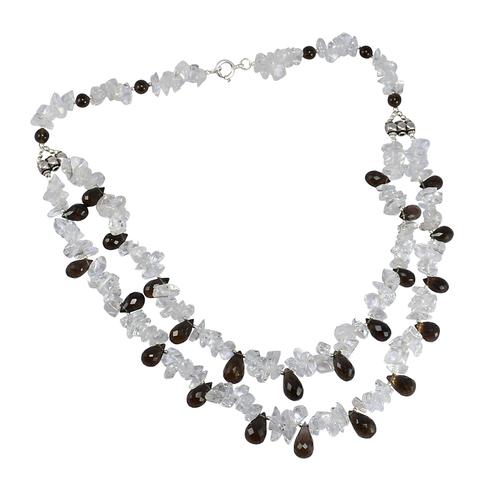 925 Sterling Silver, Handmade Jewelry Manufacturer Drop Smoky Quartz & Chips Crystal Quartz, Spring-ring hook Necklace Jaipur Rajasthan India