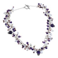 Jaipur Rajasthan India Amethyst, Pearl , Tourmaline & Crystal Quartz, 925 Sterling Silver, Toggle-Hook, Cluster Necklace