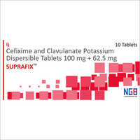 100 + 62.5 MG Cefixime And Clavulanate Potassium Dispersible Tablets