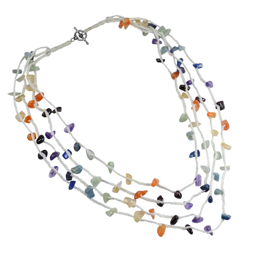 Amethyst, Carnelian, Garnet, Citrine & Lapis Lazuli, 925 Silver, White Thread  With Toggle Clasp Necklace
