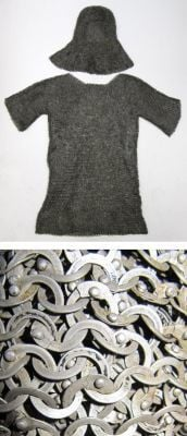 Chain Mail Shirt With Cowl Riveted Oil Finish