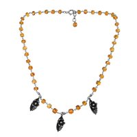 Handmade Jewelry Manufacturer Round Beaded Citrine, 925 Sterling Silver, Flower & Leaf Design Charm, Lobster-claw Necklace