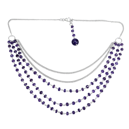 Deep Purple Round Handmade Jewelry Manufacturer Amethyst, 925 Silver, Curb-Chain Lobster-claw necklace Jaipur Rajasthan India