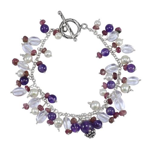 Handmade Manufacturer 925 Silver, Amethyst, Pearl , Tourmaline & Crystal Quartz Toggle-hook, Bracelet Jaipur Rajasthan India