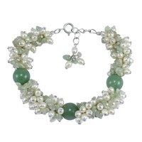 Green Onyx & Pearl, Handmade Jewelry Manufacturer 925 Sterling Silver, Spring-ring Hook, Jaipur Rajasthan India Cluster Bracelet