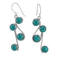 Blue Round Turquoise, Handmade Jewelry Manufacturer 925 Sterling Silver, Fish-hook Jaipur Rajasthan India Dangle Earring