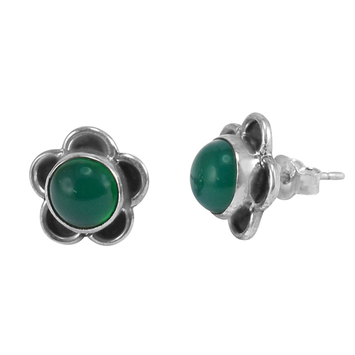 May Birthstone Handmade Jewelry Manufacturer Green Onyx, 925 Silver, Push Back Jaipur Rajasthan India Flower Shape Earring