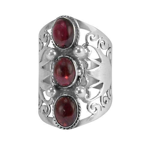 3 Stone Set Bazel Setting, Handmade Manufacturer January Birthstone Red Garnet, Jaipur Rajasthan India 925 Sterling Silver Ring