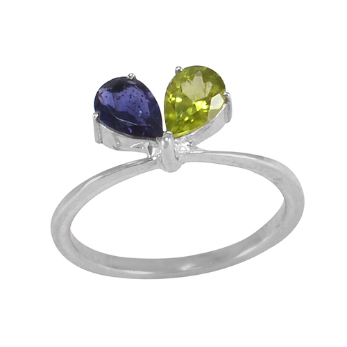 925 Sterling Silver, February Amethyst- August Peridot- Prong Setting- Knife-edge shank Ring Jaipur Rajasthan India