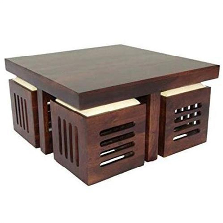 Wooden Coffee Table With 4 Stools