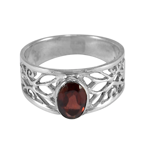 Handmade Jewelry Manufacturer 7x5mm Oval Faceted- 925 Sterling Silver- Red Garnet- Straight shank Ring Jaipur Rajasthan India